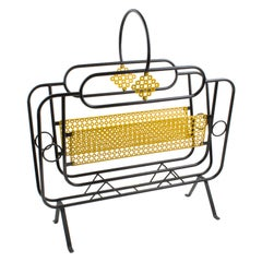 Mathieu Mategot Style Metal Magazine Holder Rack
