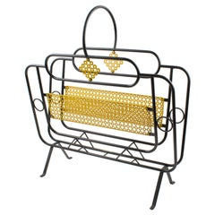 Mathieu Matégot Style Metal Magazine Holder Rack