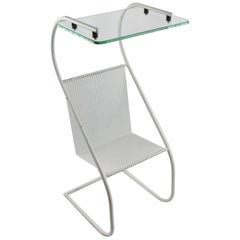 Mathieu Matégot Style Modern White Perforated Metal Side Table and Magazine Rack