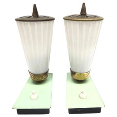 Mathieu Matégot Style Pair of 1950s Perforated Metal Glass Shade Table Lamps