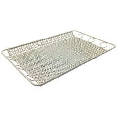 Mathieu Mategot Style White Metal Barware Tray