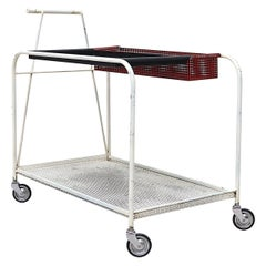 Mathieu Mategot Style Rolling Bar Cart with Removable Trays