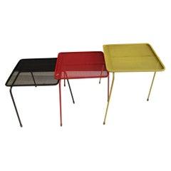 Mathieu Matégot Suite of Three Nesting Tables Model «Soumba»