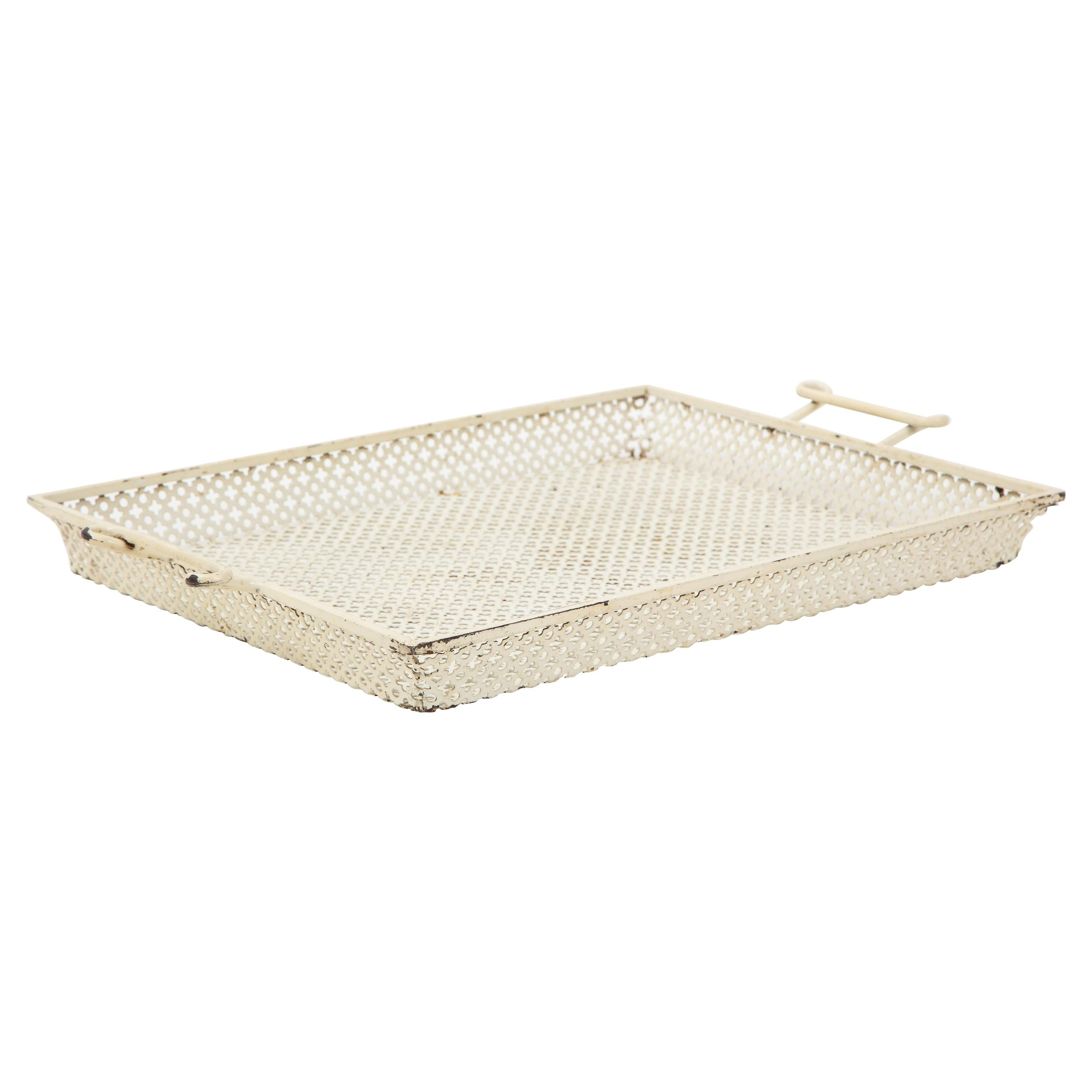 Mathieu Mategot White Lacquer Perforated Serving Tray, France, 1950