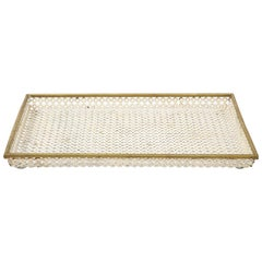 Mathieu Matégot White Tray, Perforated Metal, Brass, Enamel, France, circa 1950