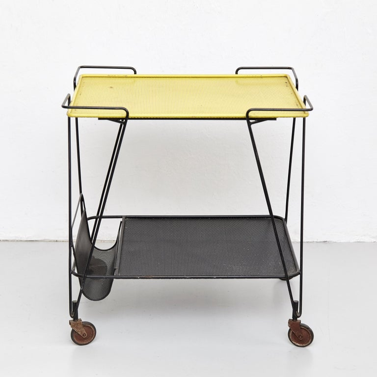 Mid-Century Modern Mathieu Mategot Yellow and Black Trolley, circa 1950 For Sale