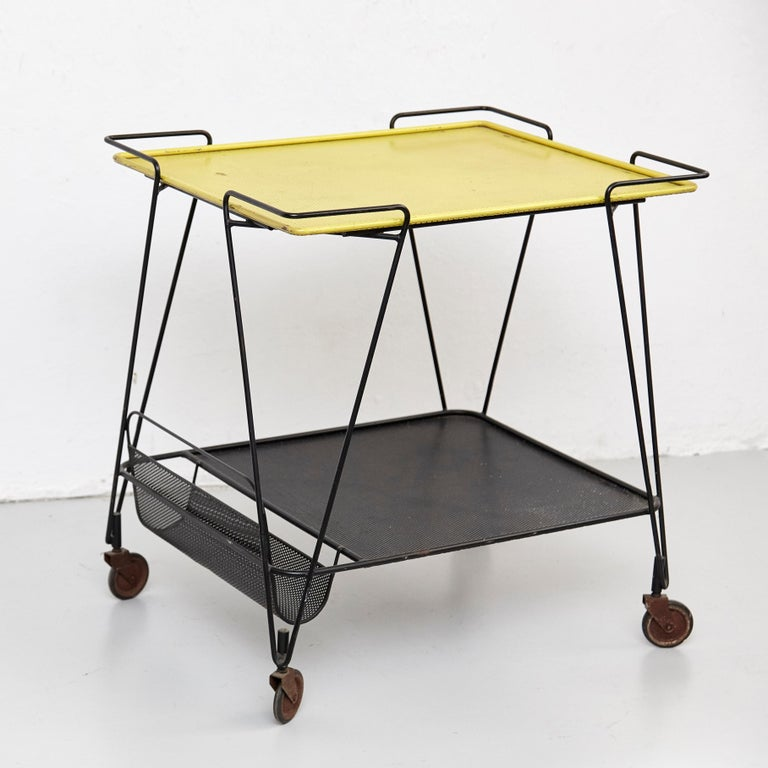 French Mathieu Mategot Yellow and Black Trolley, circa 1950 For Sale