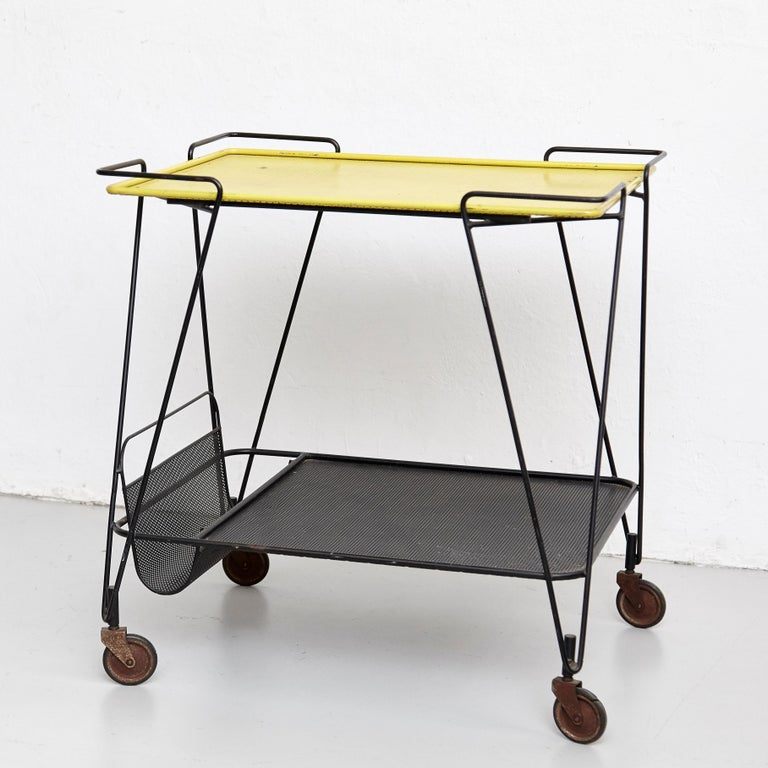 Mathieu Mategot Yellow and Black Trolley, circa 1950 In Fair Condition For Sale In Barcelona, Barcelona