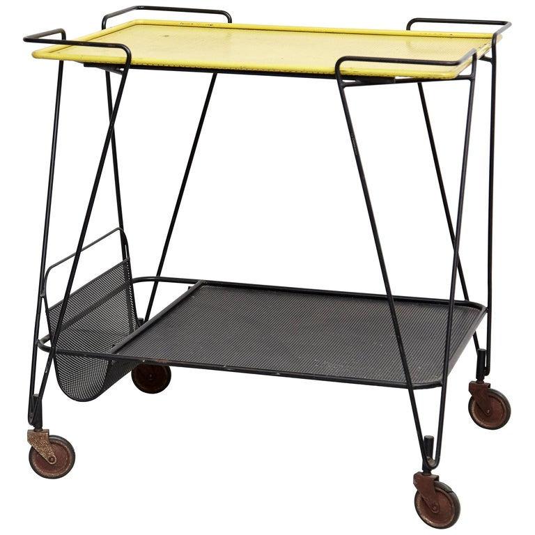 Mathieu Mategot Yellow and Black Trolley, circa 1950 For Sale