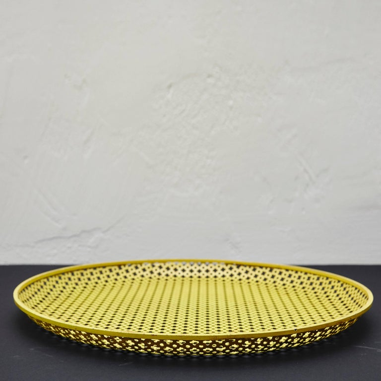 Enameled metal Plate designed by Mathieu Matégot.