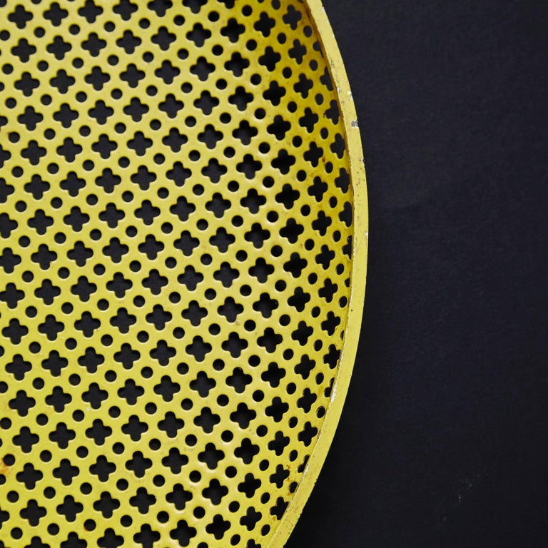 Mathieu Matégot Yellow Enameled Metal Plate, circa 1950 In Good Condition For Sale In Barcelona, Barcelona