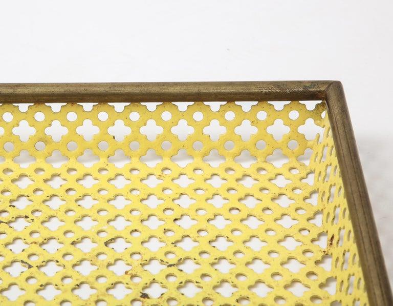 Mid-Century Modern Mathieu Matégot Yellow Tray, Perforated Metal, Brass, Enamel, France, circa 1950 For Sale