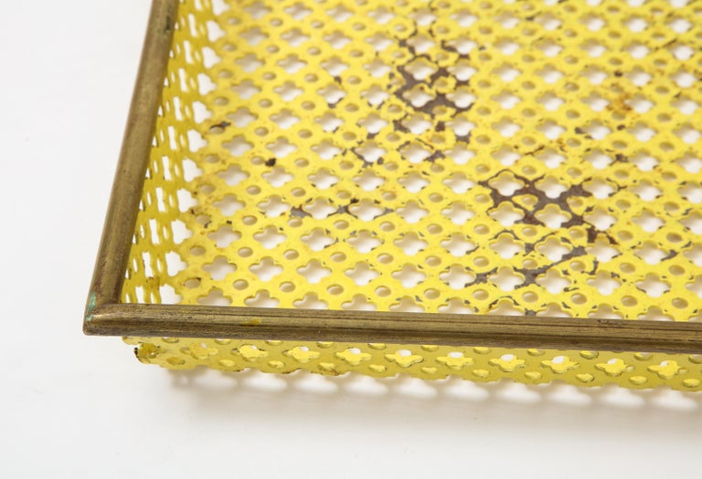 French Mathieu Matégot Yellow Tray, Perforated Metal, Brass, Enamel, France, circa 1950 For Sale