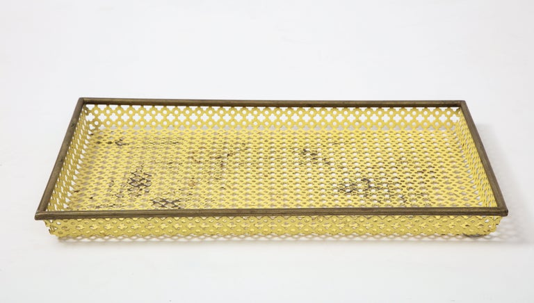 Mathieu Matégot Yellow Tray, Perforated Metal, Brass, Enamel, France, circa 1950 In Fair Condition For Sale In Brooklyn, NY