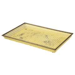 Mathieu Matégot Yellow Tray, Perforated Metal, Brass, Enamel, France, circa 1950