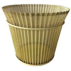 Mathieu Matégot, Yellow Metal Wastepaper Basket 1950s