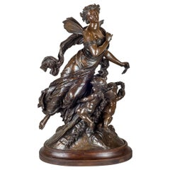 Mathurin Moreau Patinated Bronze Group of Angel and Cherub