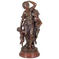 Mathurin Moreau Patinated Bronze Sculpture of Mother and Children