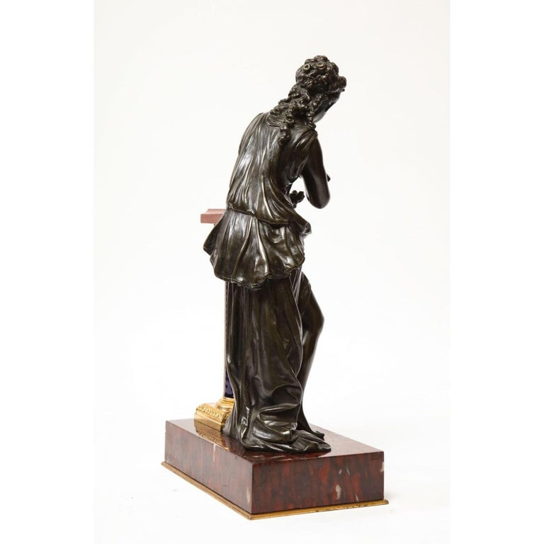 Exquisite French Bronze, Rouge Marble, and Sèvres Style Porcelain Sculpture For Sale 9