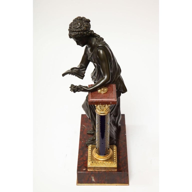 Exquisite French Bronze, Rouge Marble, and Sèvres Style Porcelain Sculpture For Sale 16