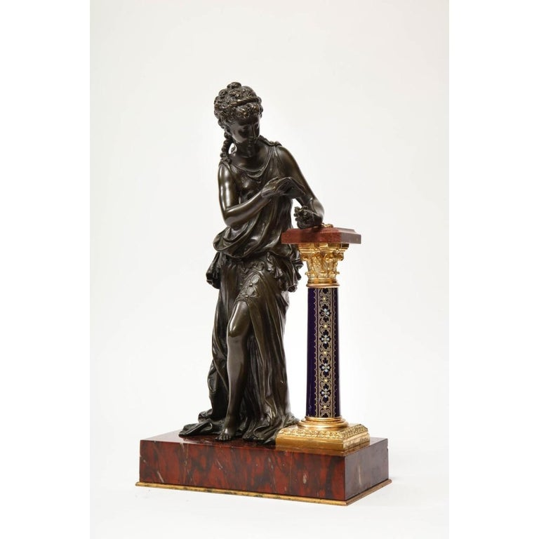 Exquisite French Bronze, Rouge Marble, and Sèvres Style Porcelain Sculpture - Gold Figurative Sculpture by Mathurin Moreau