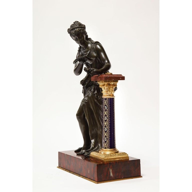 Exquisite French Bronze, Rouge Marble, and Sèvres Style Porcelain Sculpture For Sale 1