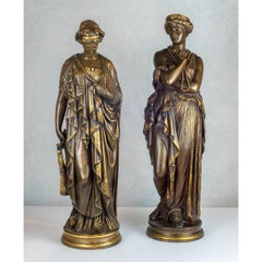 Fine Quality Pair of Patinated Bronze Statues Depicting Sappho and Hélène
