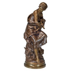 Mathurin Moreau Bronze Mother and Child Statue