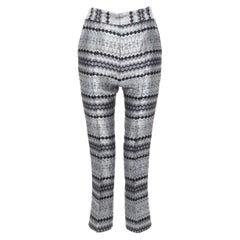 "MATICEVSKI 2016 Fractured Pants silver lurex geometric jacquard crop pants 26"""
