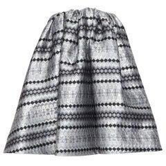 MATICEVSKI 2016 Profound Top silver lurex jacquard flared strapless top XS