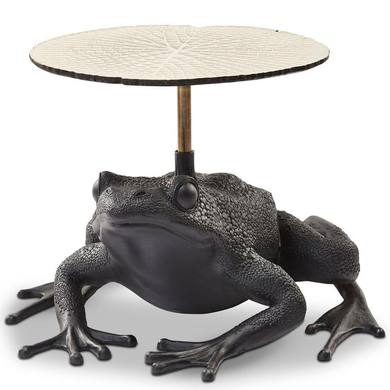 Modern Matilda, Resin and Etched Brass Frog Side Table by Egg Designs For Sale