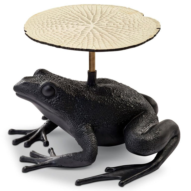 South African Matilda, Resin and Etched Brass Frog Side Table by Egg Designs For Sale