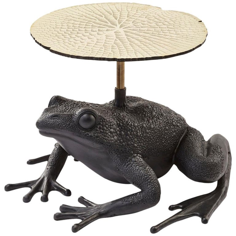 Matilda, Resin and Etched Brass Frog Side Table by Egg Designs For Sale