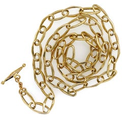 Matinee Length Cable Chain with Sculpted Oval Links & Mini-Toggle in Yellow Gold