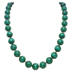 Matinee Length Polished Malachite Beaded Necklace with 14 Karat Gold Clasp