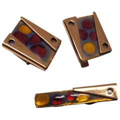 Matisse Rare Set of Vintage 1950s Abstract Modernist Enamel on Copper Cuff Link