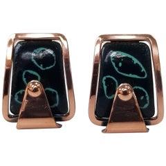 Matisse Rare Vintage 1950s Abstract Modernist Enamel on Copper Earrings