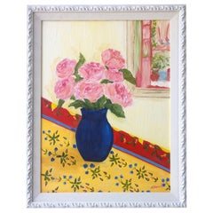 Matisse Style Kelly Yoonard 20th Century Pink, Yellow and Blue Floral Still Life