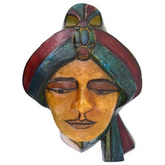 Matius French Vintage Pop Art Mural Maharadjah Sculpture, 1970