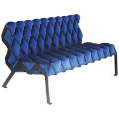 Matrice Bench in Black Steel and Blue Velvet