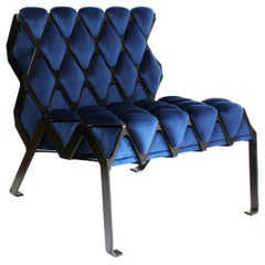 Matrice Chair in Black Steel and Blue Velvet