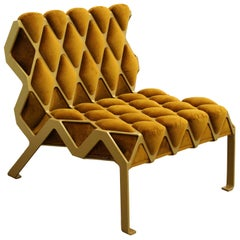 Customizable Handmade Organic Gold Side Chair in Steel and Velvet by Tawla