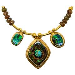 Matrix Boulder Opal Necklace Andalusite Beaded 22 Karat Gold 18 Karat Gold