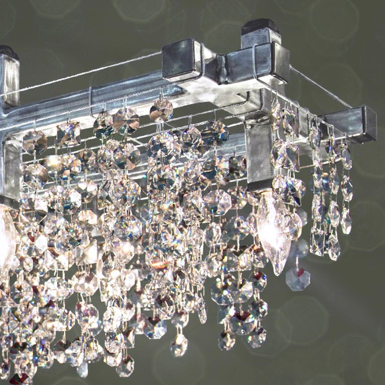 Industrial Matrix Crystal Linear Suspension Modern Chandelier For Sale