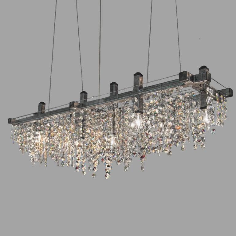 American Matrix Crystal Linear Suspension Modern Chandelier For Sale