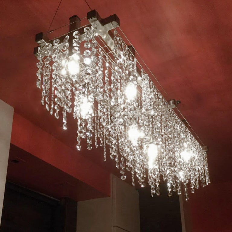 Hand-Crafted Matrix Crystal Linear Suspension Modern Chandelier For Sale