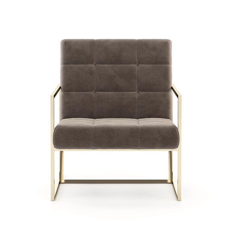 Armchair Matrix fabric upholstered and covered with high quality taupe fabric. With polished stainless steel base in gold finish. Also available with other color fabrics on request.