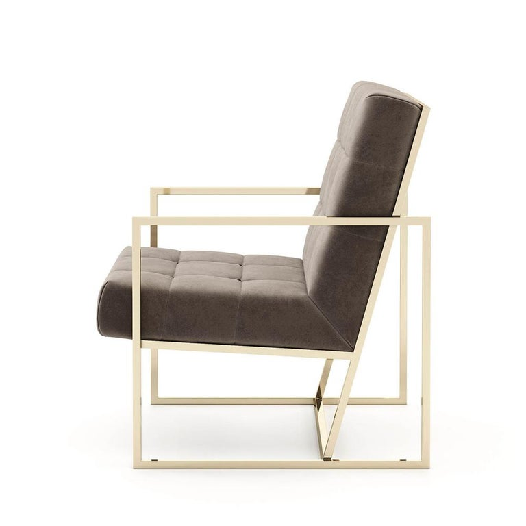 Hand-Crafted Matrix Fabric Armchair with Taupe Fabric For Sale