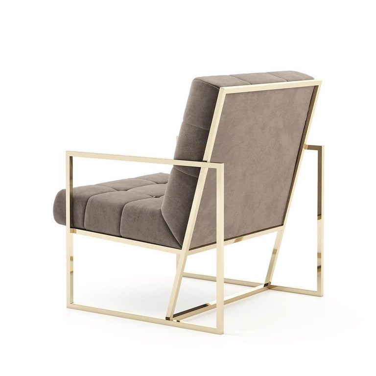 Matrix Fabric Armchair with Taupe Fabric In New Condition For Sale In Paris, FR
