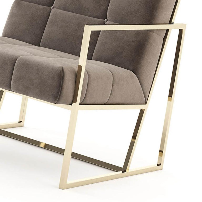 Contemporary Matrix Fabric Armchair with Taupe Fabric For Sale